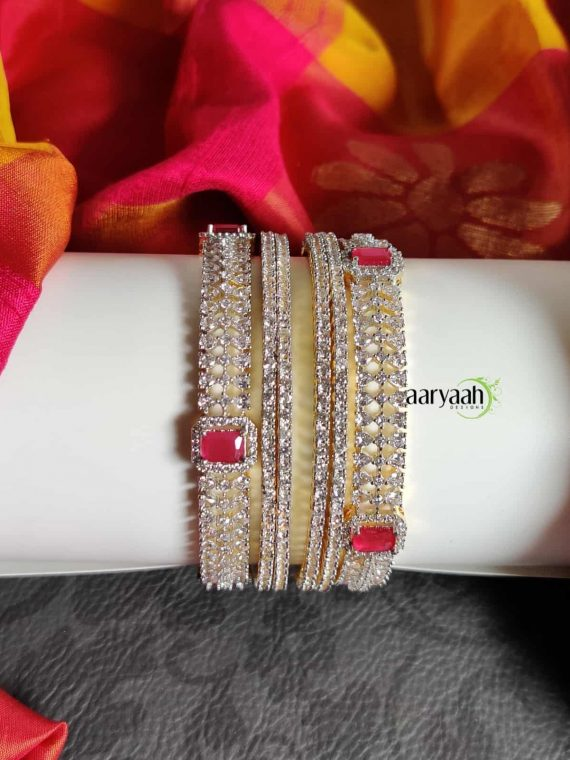 Adorable Diamond Finish Ruby Stone Bridal Bangles-01