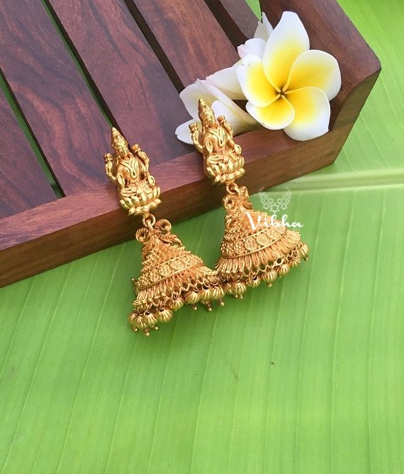 Alluring Gold Replica Lakshmi Earrings-01