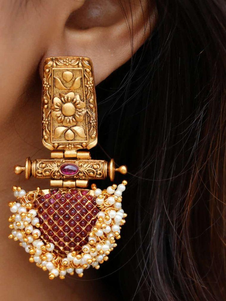 Antique Ruby & Kemp Pearl Cluster Earrings-01
