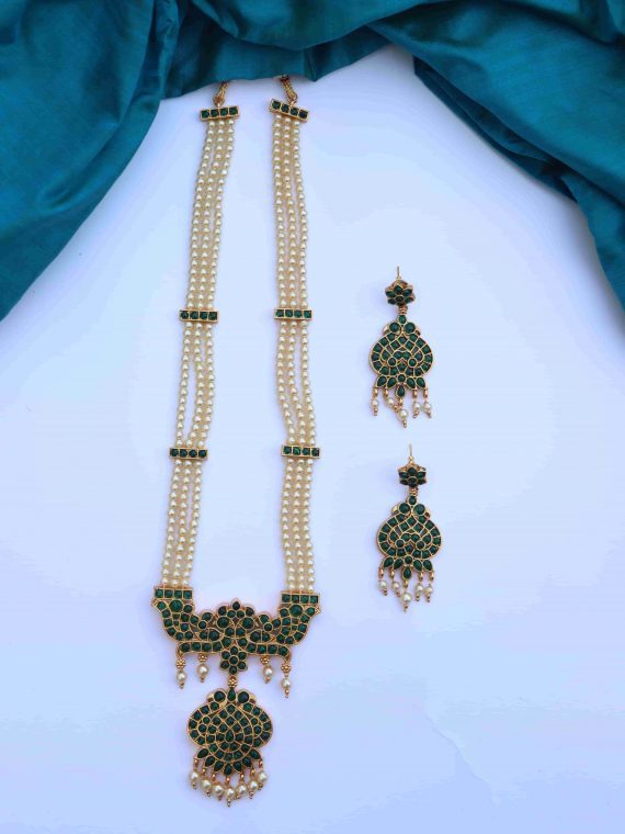Beautiful 3 Layered Pearl Beads Long Necklace-01