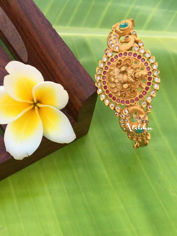 Beautiful Crafted Grand Matte Lakshmi Kada Bangles-02