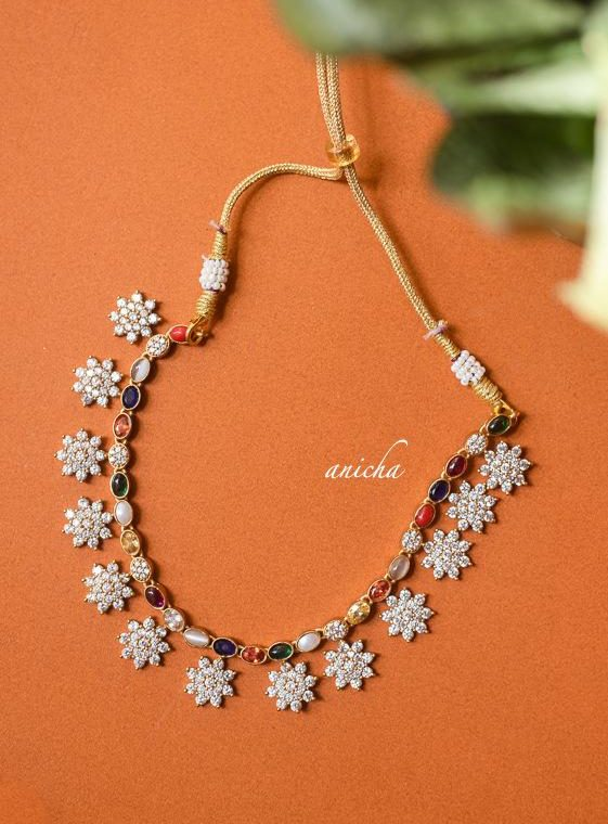 Beautiful Floral Motif AD Navarathna Necklace-01