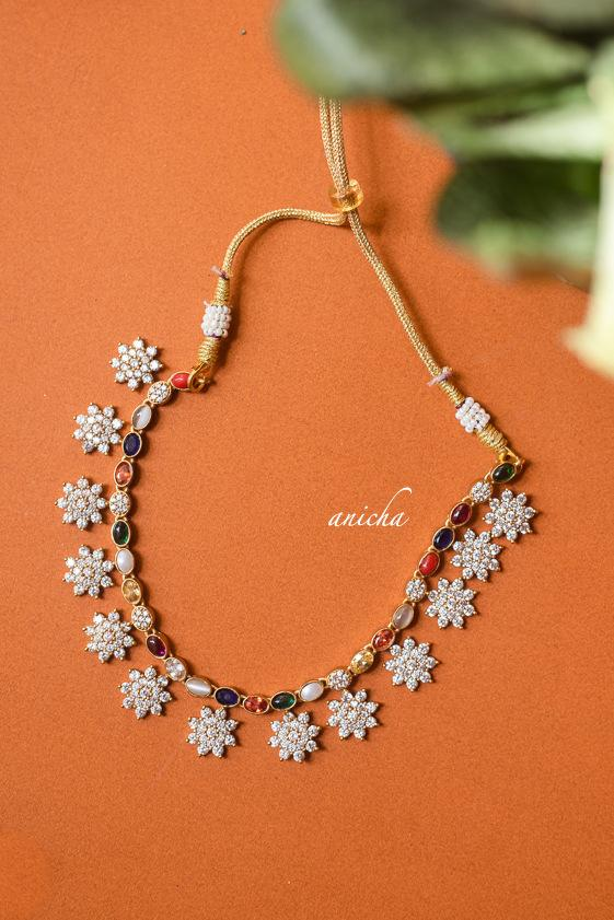 Beautiful Floral Motif AD Navarathna Necklace-01