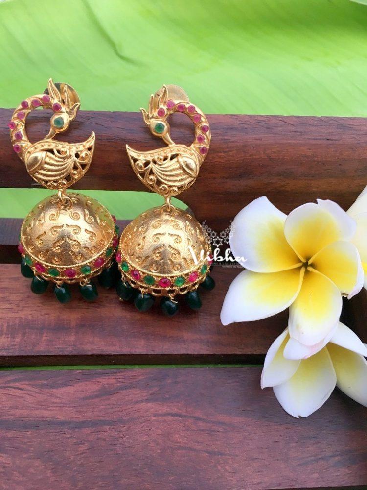 Beautiful Look Gold Replica Peacock Earrings-01