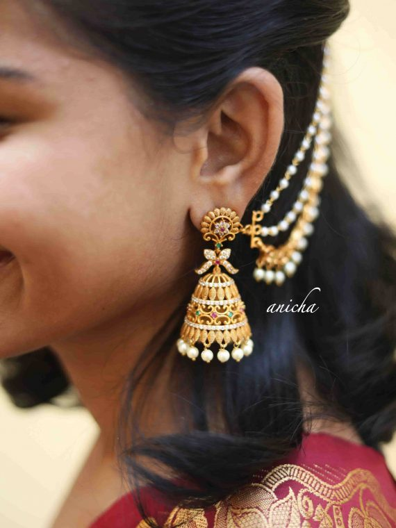 Beautiful Matte Gold Jhumkas with 3 Layered Ear Chains-01