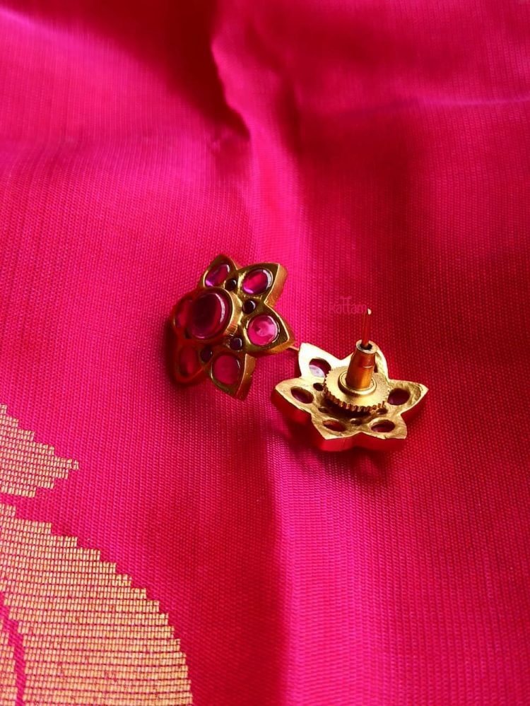 Beautiful Matte Ruby and Green Top Ear Studs-02 (2)