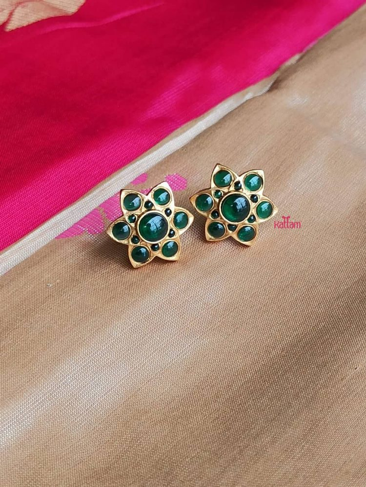 Beautiful Matte Ruby and Green Top Ear Studs-03