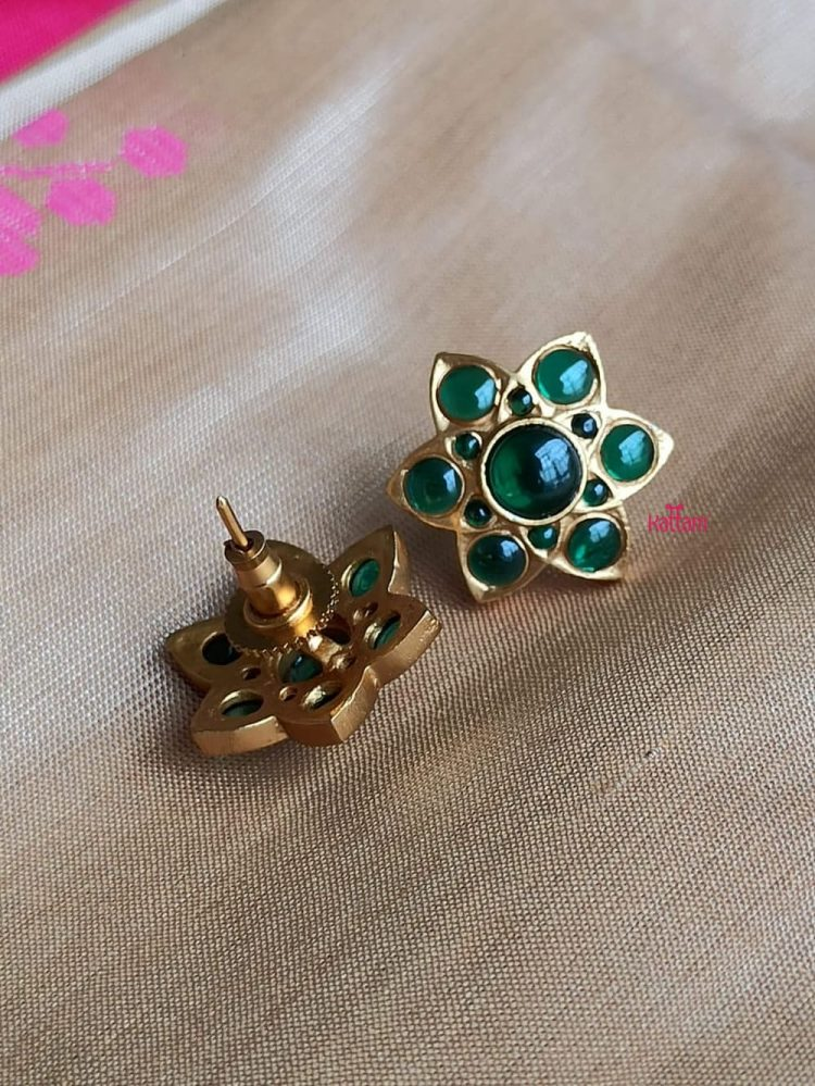 Beautiful Matte Ruby and Green Top Ear Studs-04