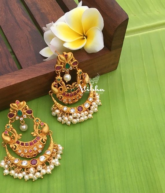 Beautiful Peacock Chandbali Pearl Drops Earrings-01