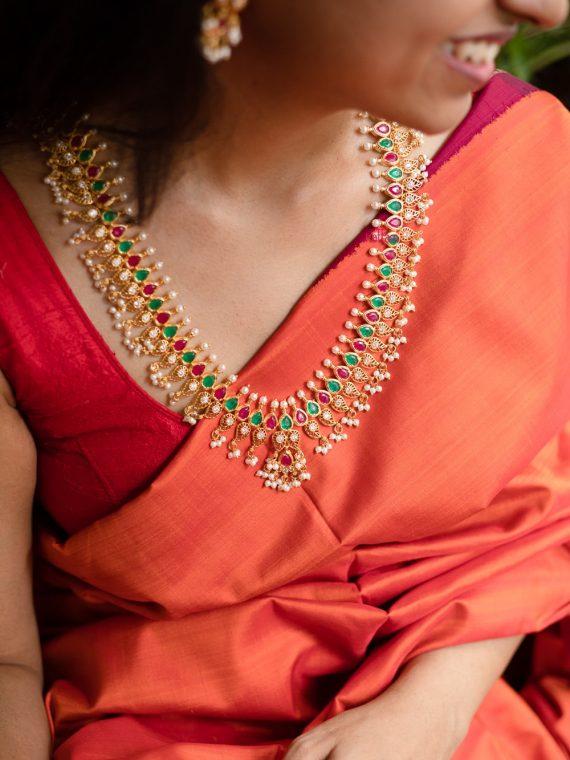 Beautiful Red and Green Stone Guttapusalu Haram-02