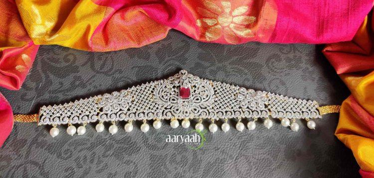 Bridal Elegant Diamond Finish Hip Belt-01