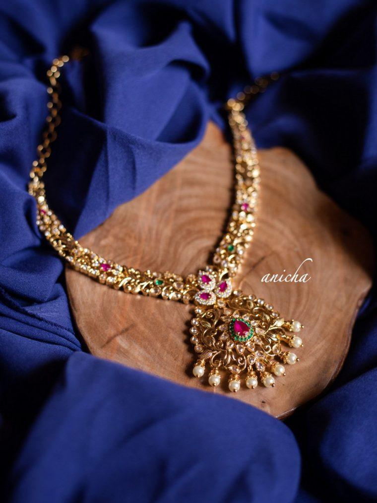 Classic AD Stone Petal Necklace Set-01