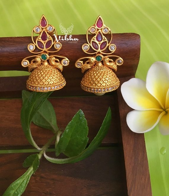 Cute Matte Finish Multi Stone Jhumkas-01
