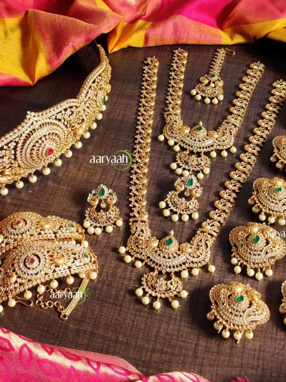Designer High Quality Gold Finish Full Bridal Set-01