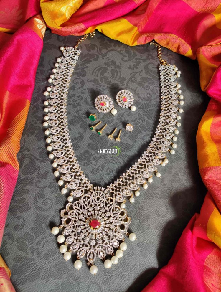 Diamond Finish Long Bridal Haram with Interchangeable Stones-01