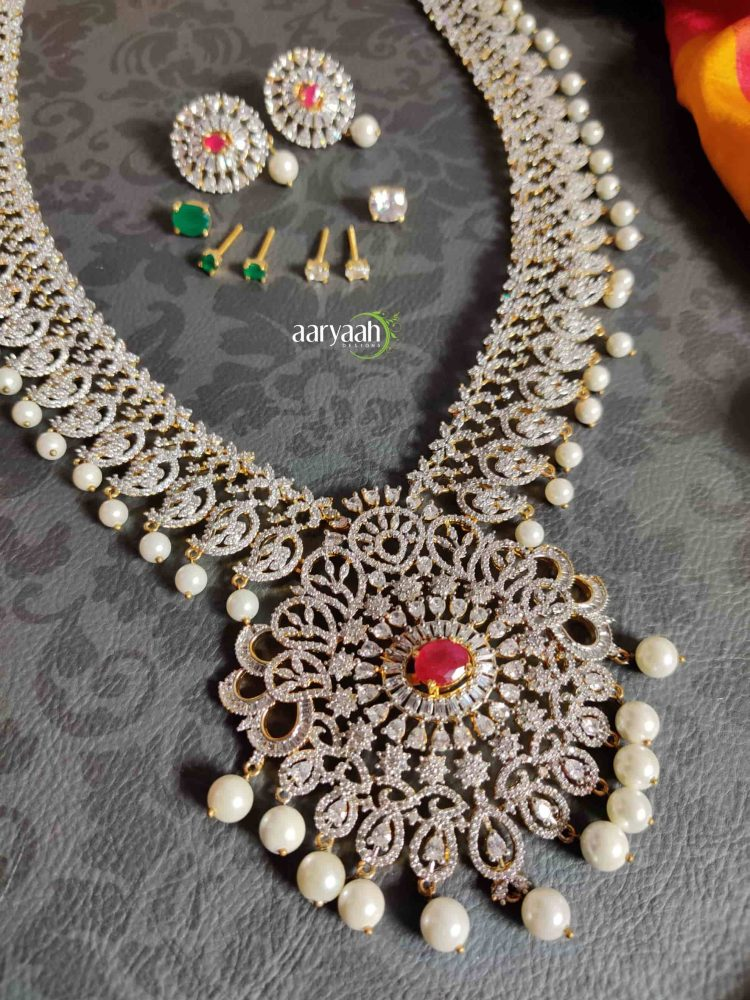 Diamond Finish Long Bridal Haram with Interchangeable Stones-02