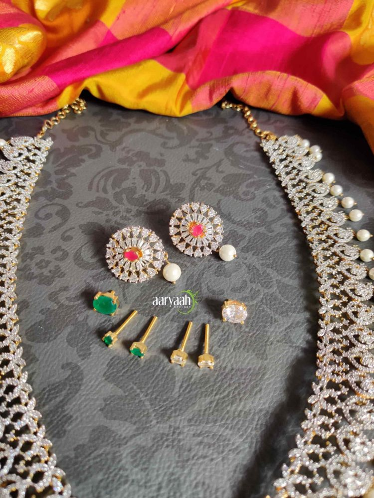 Diamond Finish Long Bridal Haram with Interchangeable Stones-03