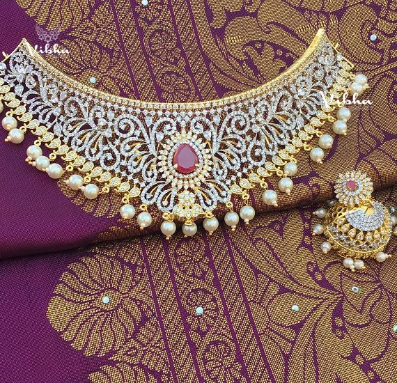 Exclusive Diamond Finish Bridal Choker-01