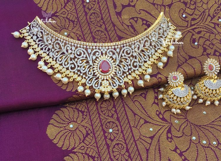Exclusive Diamond Finish Bridal Choker-01