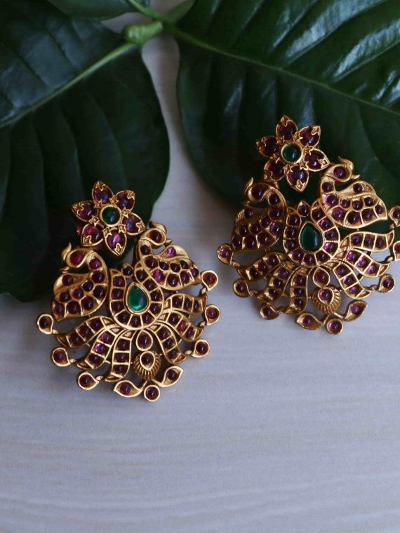 Floral Peacock Design Real Kemp Earrings-01