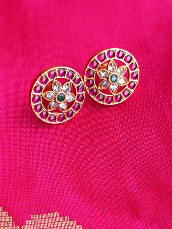 Flower Design AD Stone Ear Studs-01