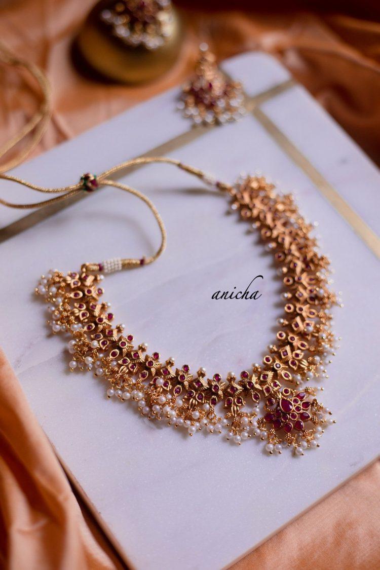 Flower Motif Ruby Stone Guttapusalu Necklace-01