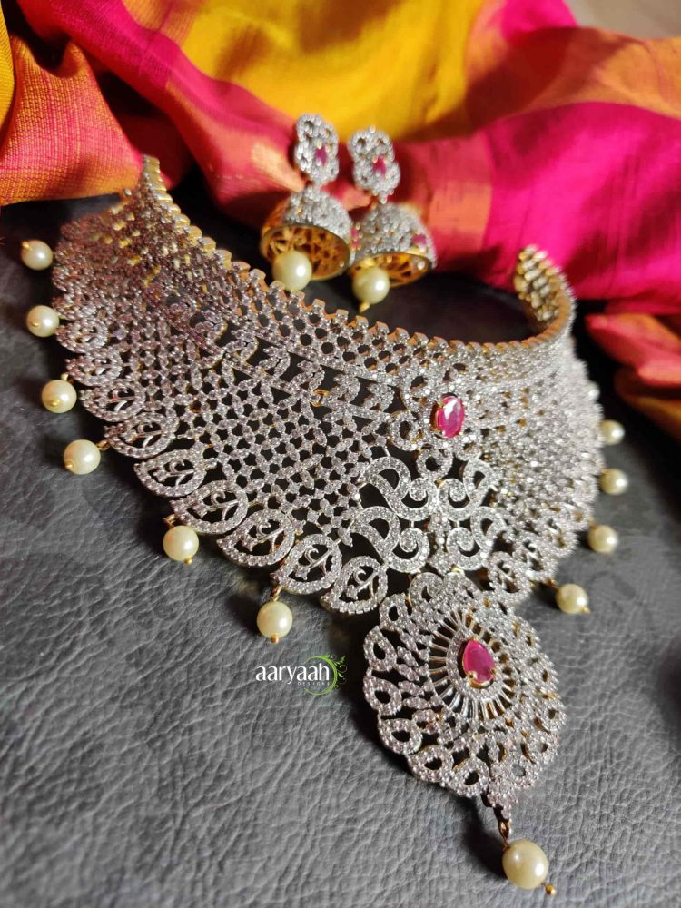 Gorgeous Diamond Finish Bridal Choker-01