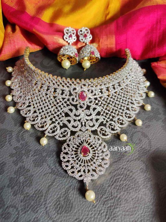 Gorgeous Diamond Finish Bridal Choker-02