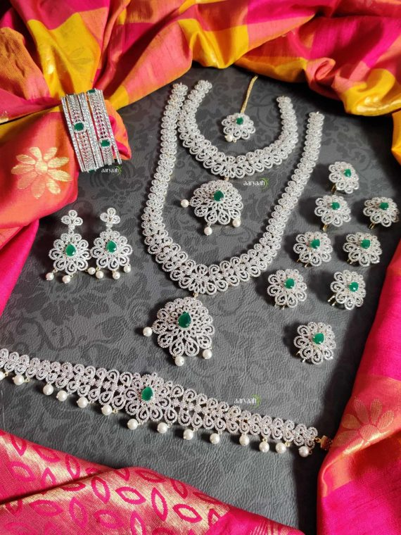 Gorgeous Diamond Finish Full Bridal Set-01