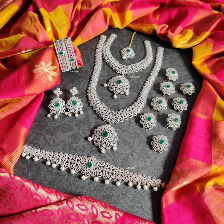 Gorgeous Diamond Finish Full Bridal Set-01