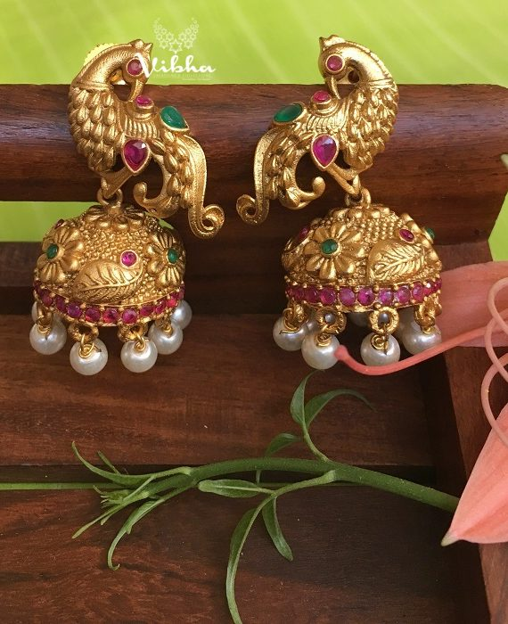 Gorgeous Peacock Design Jhumkas-01