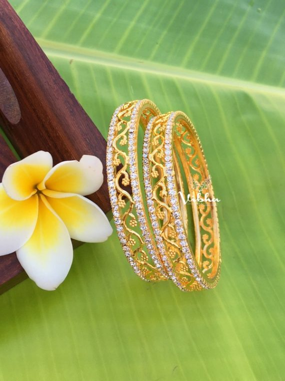 Gorgeous Set of Two CZ Stone Bangles-01