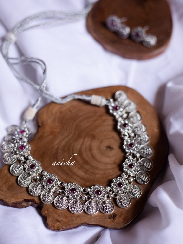 Gorgeous Silver Finish Lakshmi Coin Necklace-01