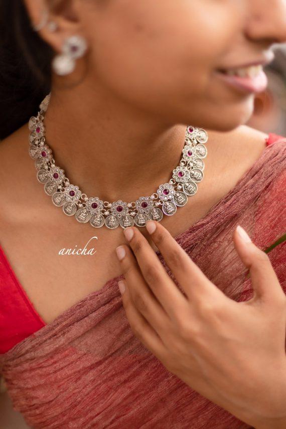 Gorgeous Silver Finish Lakshmi Coin Necklace-03