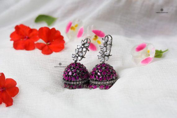 Gorgeous Zircon Floral Jhumkas-02
