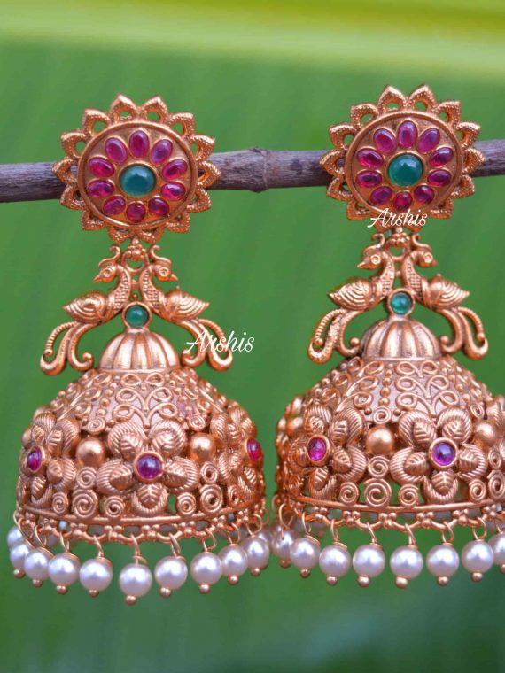 Heavy Grand Wedding Temple Jhumkas-01