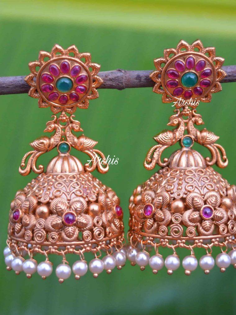 Heavy Grand Wedding Temple Jhumkas-01