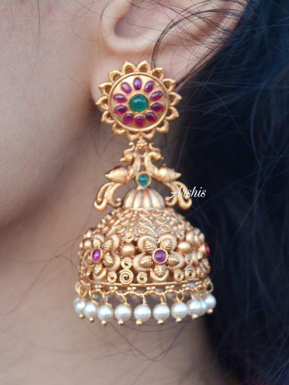 Heavy Grand Wedding Temple Jhumkas-02