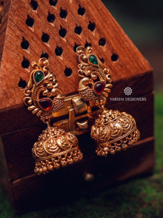 High Quality Matte Finish Temple Jhumkas-01