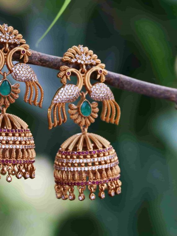Imitation Long Peacock AD Stone Jhumkas-01