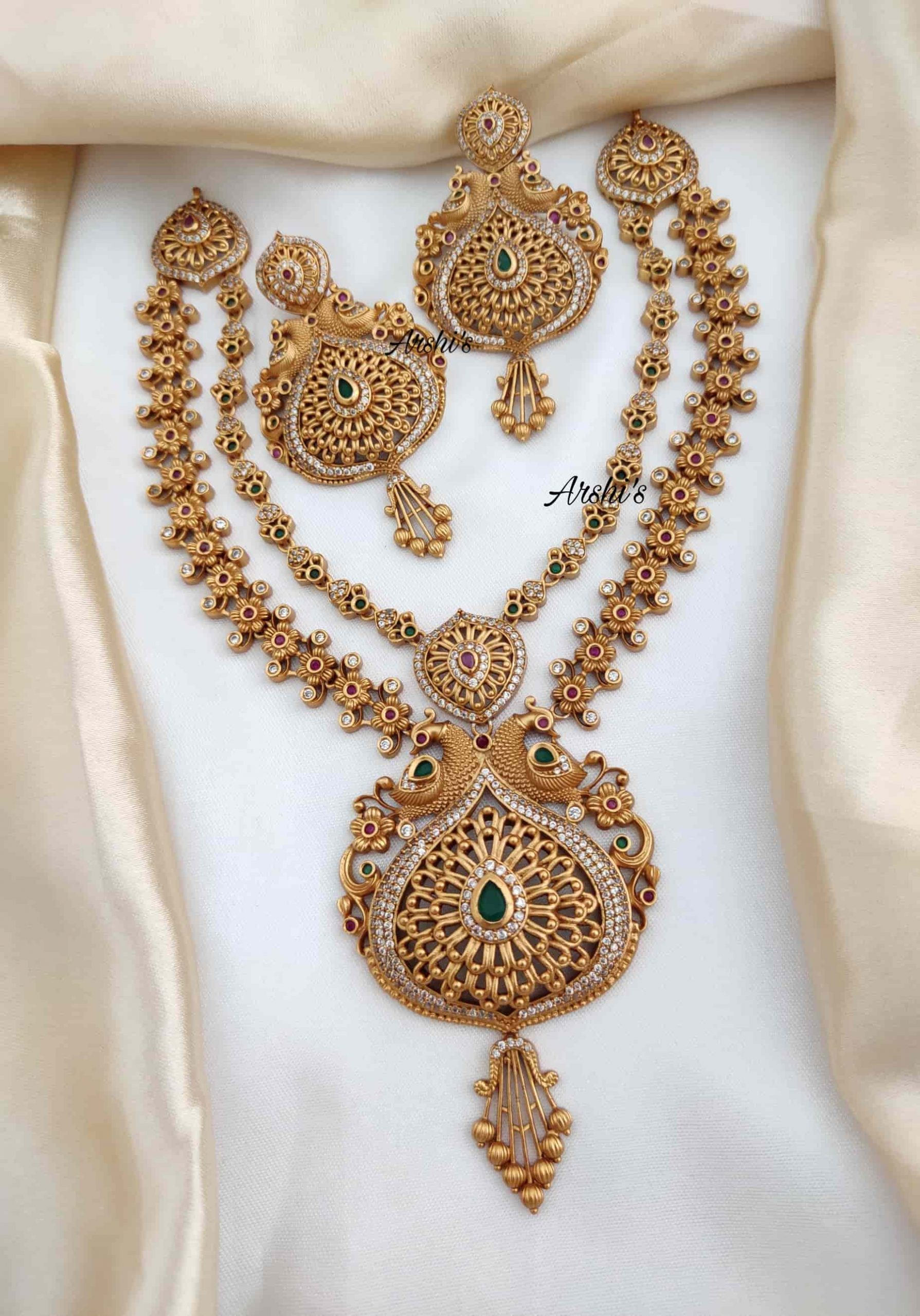 Latest Designer Two Layer Peacock Necklace-01