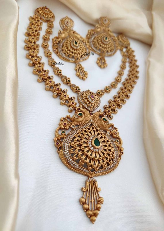 Latest Designer Two Layer Peacock Necklace-02