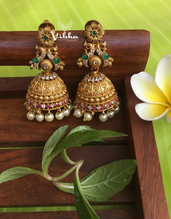 Matte Finish Multi Stone Stuuded Pearl Drop Jhumkas-01