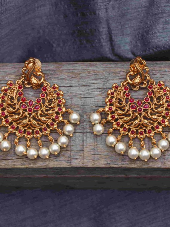 Peacock Ruby Stone Chandbali Earrings-01