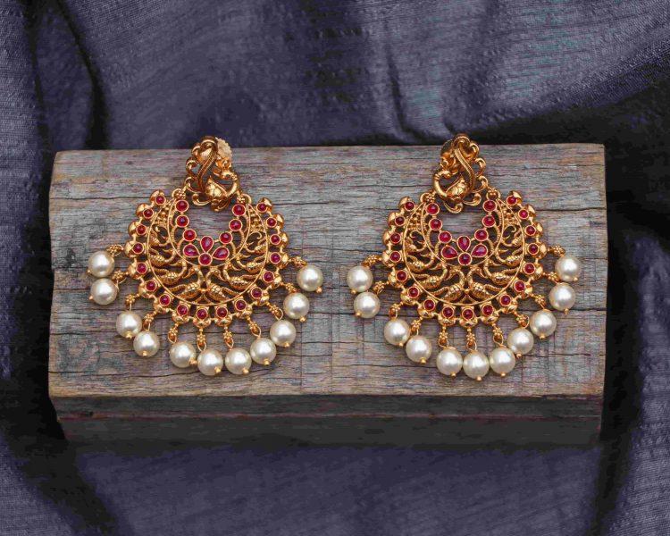 Peacock Ruby Stone Chandbali Earrings-01