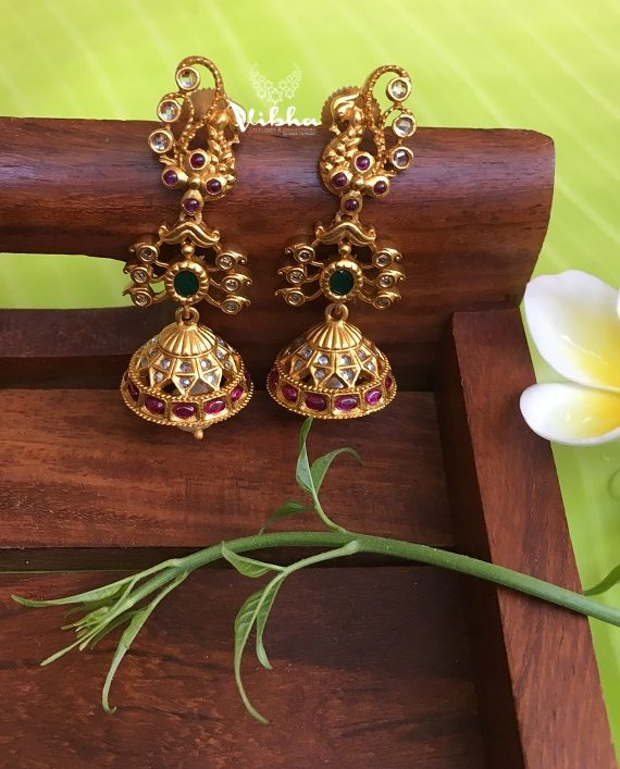 Simple Peacock Design AD Stone Jhumkas-01