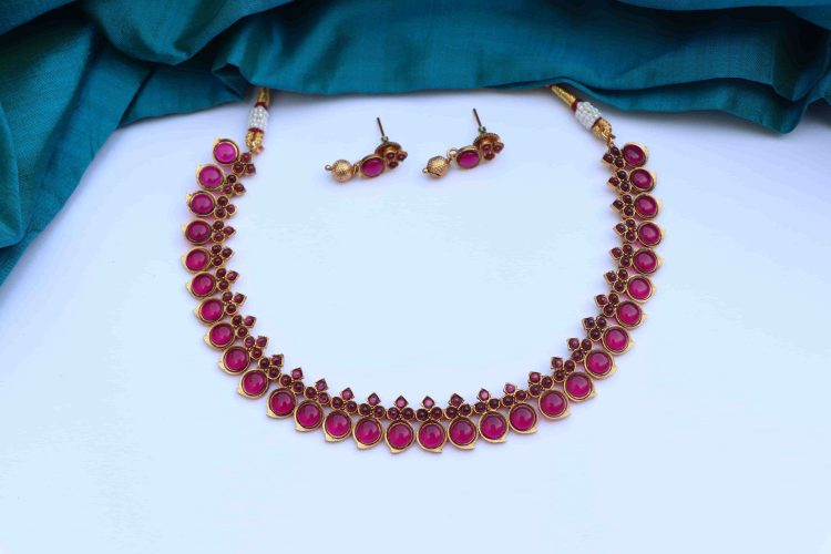 Simple Traditional Mango Short Necklace-05