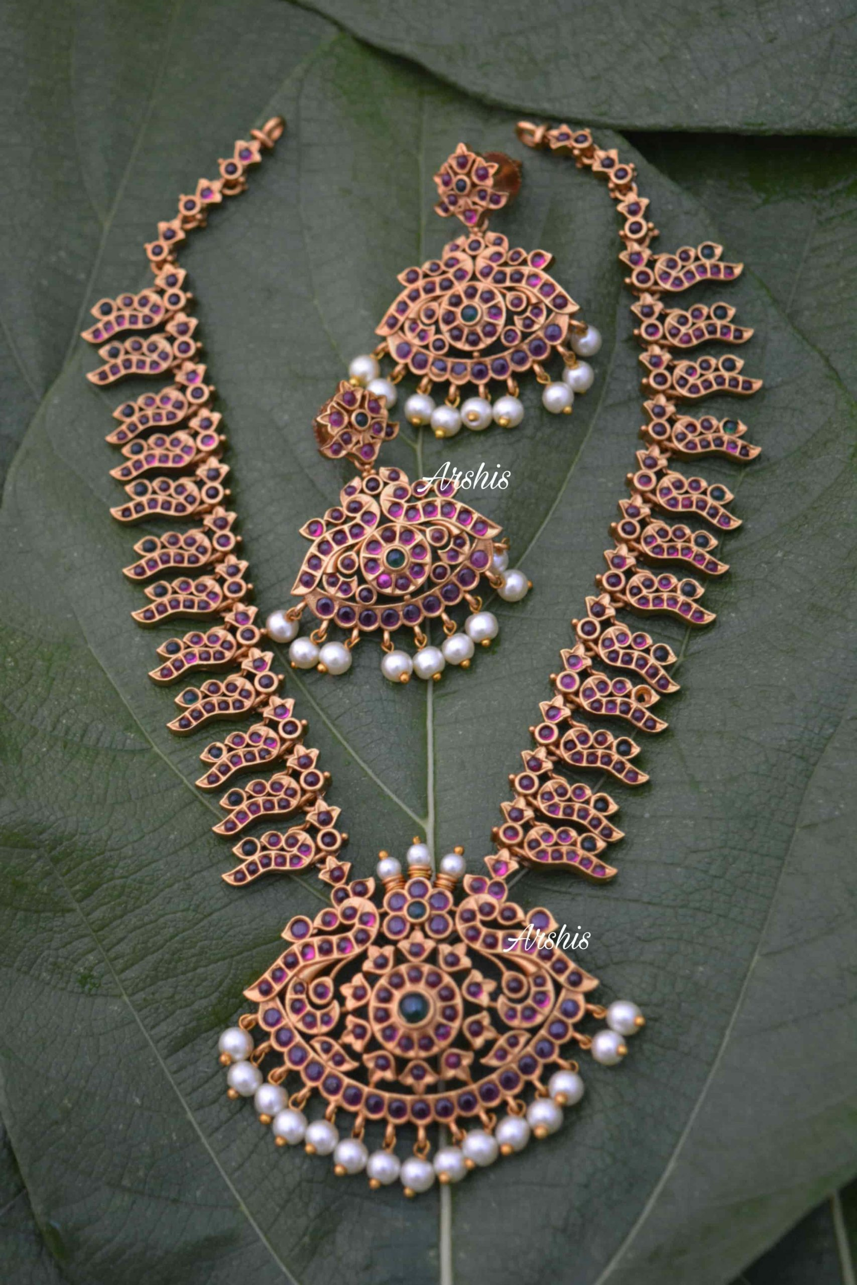 South Indian Style Real Kemp Necklace-01
