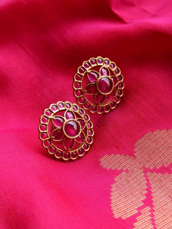 Sparkling Ruby & Ruby, Green Stone Ear Studs-01