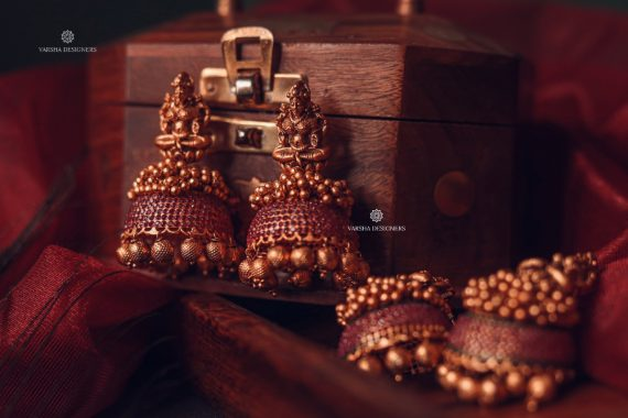 Traditional Matte Finish Deep Ruby Stone Jhumkas-01
